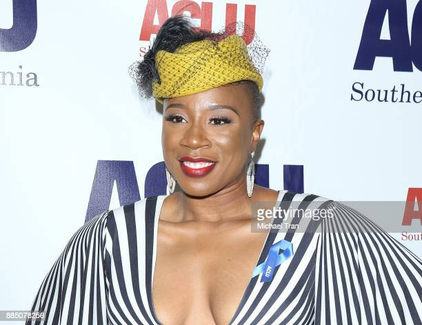 Aisha Hinds arrives to the ACLU SoCal's Annual Bill of Rights dinner held at the Beverly Wilshire Four Seasons Hotel on December 3 2017 in Beverly...