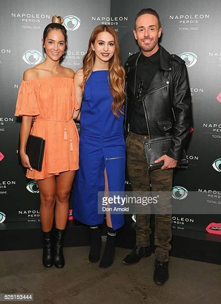 Aisha JadeLianna Perdis and Donny Galella attend the launch of 'Total Bae' for Napoleon Perdis on April 28 2016 in Sydney Australia