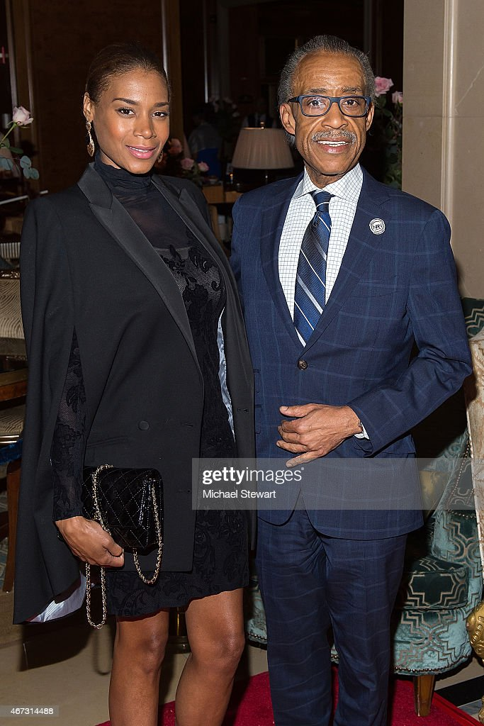 Aisha McShaw (L) and Reverend <a gi-track='captionPersonalityLinkClicked' href=/galleries/search?phrase=Al+Sharpton&family=editorial&specificpeople=202250 ng-click='$event.stopPropagation()'>Al Sharpton</a> attend Aretha Franklin's Birthday Celebration at the Ritz Carlton Hotel on March 22, 2015 in New York City.
