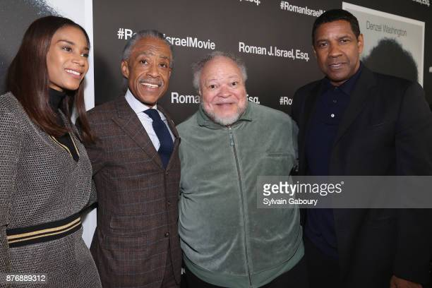 Aisha McShaw Reverend Al Sharpton Stephen McKinley Henderson and Denzel Washington attends 'Roman J Israel Esquire' New York Premiere on November 20...
