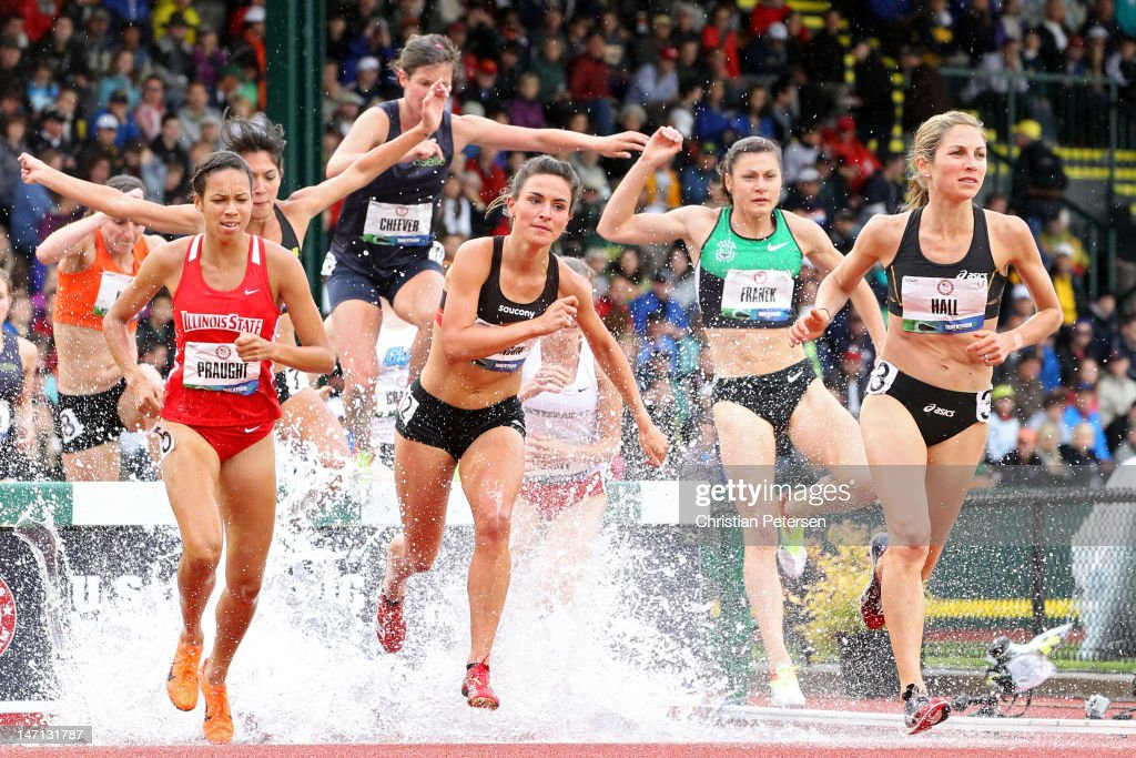 Aisha Praught, Ashley Higginson and Sara Hall compete in the women's 3000 meter steeplechase premil during Day Four of the 2012 U.S. Olympic Track & Field Team Trials at Hayward Field on June 25, 2012 in Eugene, Oregon.