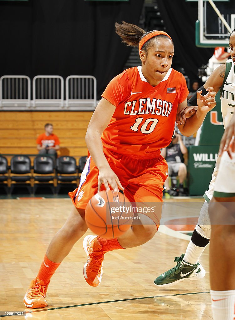 Aisha Turner #10 of the Clemson Lady Tigers dribbles the ball up court against the Miami Hurricanes on January 3, 2013 at the BankUnited Center in Coral Gables, Florida. Miami defeated Clemson 78-56.