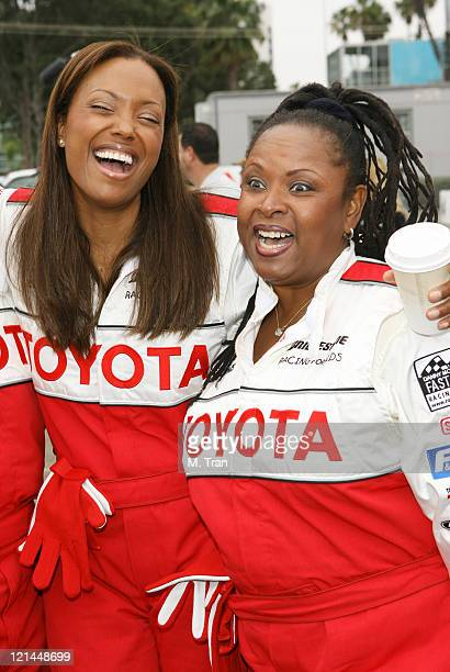 Aisha Tyler and Robin Quivers during 31st Annual Toyota Pro/Celebrity Race Press Day at Downtown in Long Beach California United States