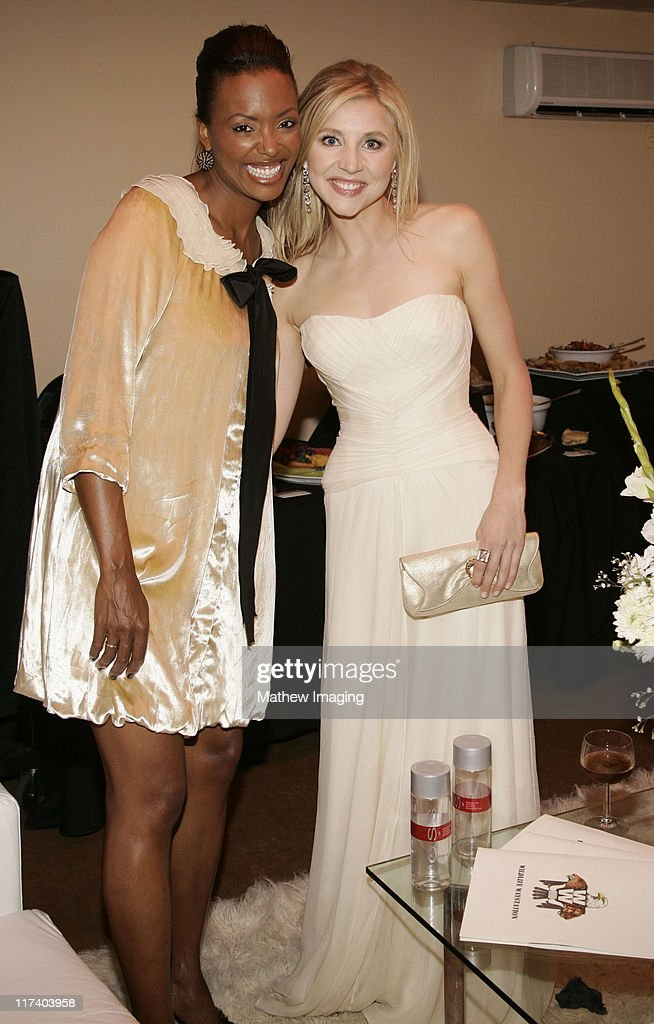 Aisha Tyler and Sarah Chalke during 58th Annual Creative Arts Emmy Awards Green Room at The Shrine Auditorium in Los Angeles California United States