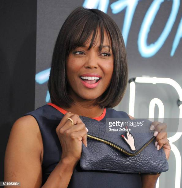 Aisha Tyler arrives at the premiere of Focus Features' 'Atomic Blonde' at The Theatre at Ace Hotel on July 24 2017 in Los Angeles California