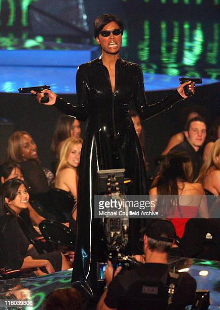 Aisha Tyler dressed like 'The Matrix' during a segment of VH1 Big In '03 airing November 30 2003