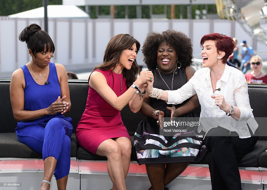 Aisha Tyler Julie Chen Sheryl Underwood and Sharon Osbourne visit 'Extra' at Universal Studios Hollywood on March 9 2016 in Universal City California