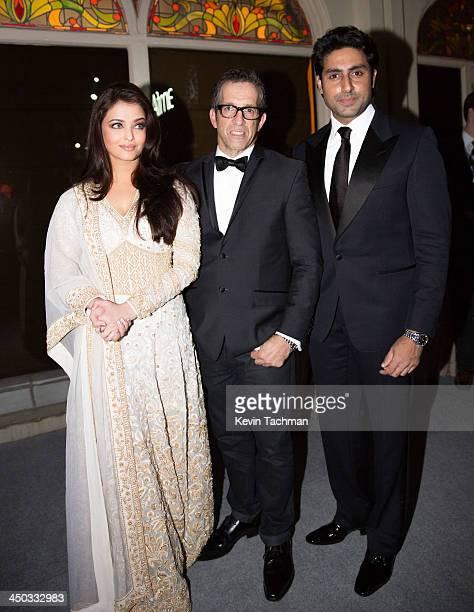 Aishwariya Rai Bachchan Kenneth Cole and Abhishek Bachchan attend the inaugural amfAR India event at the Taj Mahal Palace Mumbai on November 17 2013...