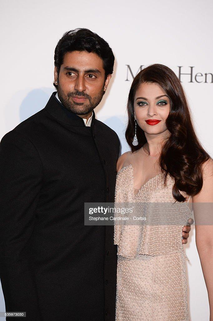 Aishwarya Rai and Abhishek Bachchan at the amfAR's 21st Cinema Against AIDS Gala at Hotel du Cap-Eden-Roc during the 67th Cannes Film Festival