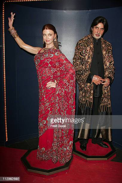 Aishwarya Rai and Amitabh Bachchan waxworks during The International Indian Film Academy Awards Launch Photocall at Madame Tussauds in London Great...