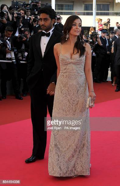Aishwarya Rai and her husband Abhishek Bachchan arrive for the screening of 'Kung Fu Panda' during the 61st Cannes Film Festival in Cannes France