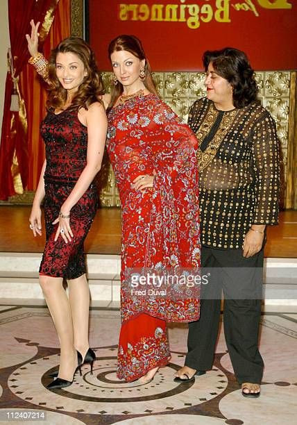 Aishwarya Rai and her waxwork model with director Gurinder Chadha