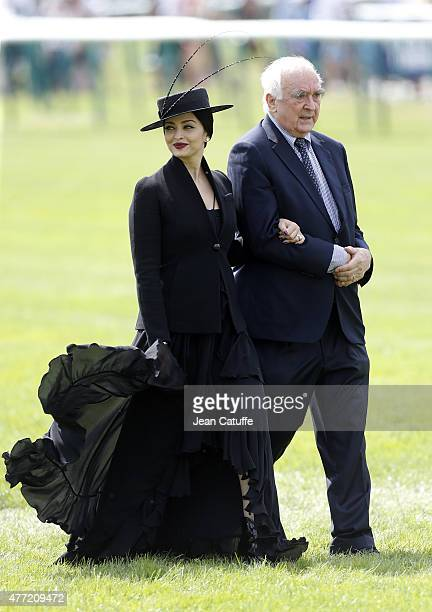 Aishwarya Rai and President of Longines Walter Von Kanel attend the 'Prix de Diane Longines 2015' at Hippodrome de Chantilly on June 14 2015 in...