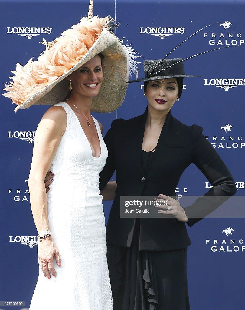 Aishwarya Rai and Sophie Thalmann attend the 'Prix de Diane Longines 2015' at Hippodrome de Chantilly on June 14 2015 in Chantilly France