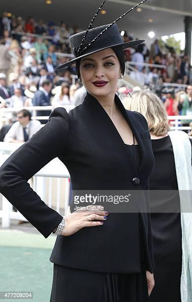 Aishwarya Rai attends the 'Prix de Diane Longines 2015' at Hippodrome de Chantilly on June 14 2015 in Chantilly France