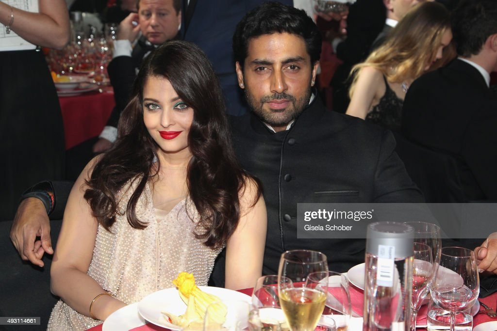 <a gi-track='captionPersonalityLinkClicked' href=/galleries/search?phrase=Aishwarya+Rai&family=editorial&specificpeople=202237 ng-click='$event.stopPropagation()'>Aishwarya Rai</a> Bachchan and <a gi-track='captionPersonalityLinkClicked' href=/galleries/search?phrase=Abhishek+Bachchan&family=editorial&specificpeople=549431 ng-click='$event.stopPropagation()'>Abhishek Bachchan</a> attend amfAR's 21st Cinema Against AIDS Gala Presented By WORLDVIEW, BOLD FILMS, And BVLGARI at Hotel du Cap-Eden-Roc on May 22, 2014 in Cap d'Antibes, France.
