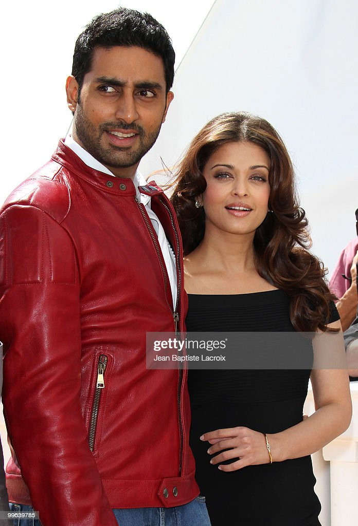 <a gi-track='captionPersonalityLinkClicked' href=/galleries/search?phrase=Aishwarya+Rai&family=editorial&specificpeople=202237 ng-click='$event.stopPropagation()'>Aishwarya Rai</a> Bachchan and <a gi-track='captionPersonalityLinkClicked' href=/galleries/search?phrase=Abhishek+Bachchan&family=editorial&specificpeople=549431 ng-click='$event.stopPropagation()'>Abhishek Bachchan</a> attend the 'Raavan' Photocall at the Salon Diane at The Majestic during the 63rd Annual Cannes Film Festival on May 17, 2010 in Cannes, France.