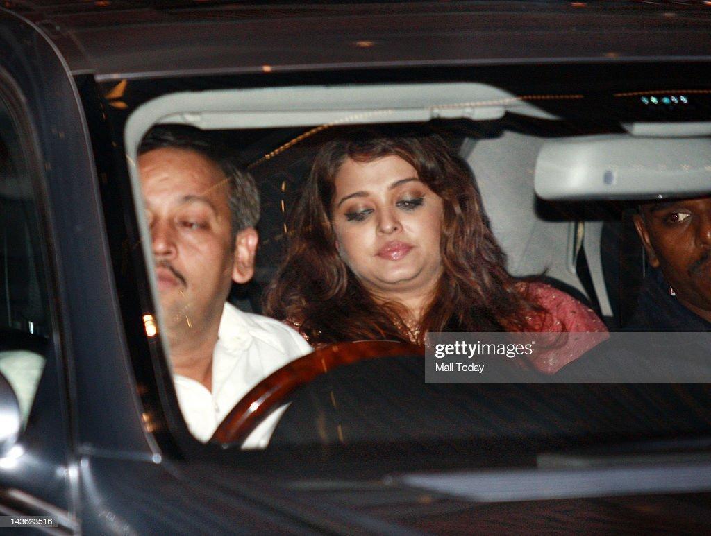 Aishwarya Rai Bachchan at a party hosted by Indian Industrialist Mukesh and his wife Nita Ambani to honour UN Secretary General Ban Ki Moon during his visit to India at Ambanis residence Antilia in Mumbai on Saturday.