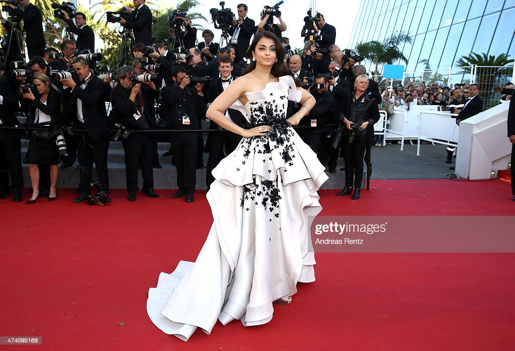 <a gi-track='captionPersonalityLinkClicked' href=/galleries/search?phrase=Aishwarya+Rai&family=editorial&specificpeople=202237 ng-click='$event.stopPropagation()'>Aishwarya Rai</a> Bachchan attends the Premiere of 'Youth' during the 68th annual Cannes Film Festival on May 20, 2015 in Cannes, France.
