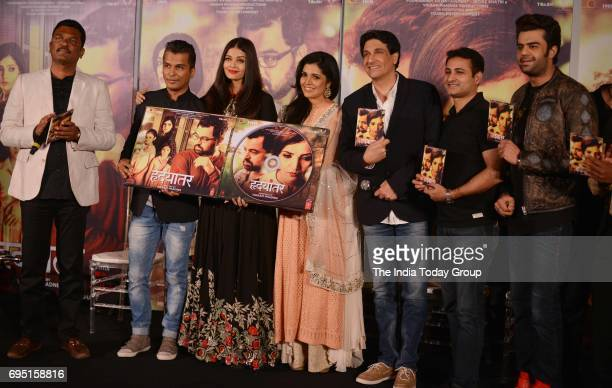 Aishwarya Rai Bachchan Vikram Phadnis Mukta Barve Shiamak Davar and Manish Paul during the music launch of marathi film Hrudayantar in Mumbai
