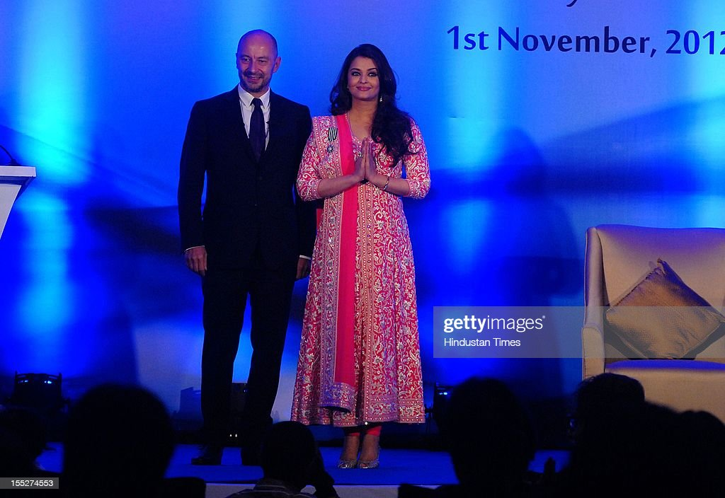 Aishwarya Rai Bachchan with French ambassador to India Francois Richier during a function to confer her with French Knight of the Order of Arts and Letters for her contribution to the arts on November 1, 2012 in Mumbai, India. She also celebrated also celebrated her 39th birthday.