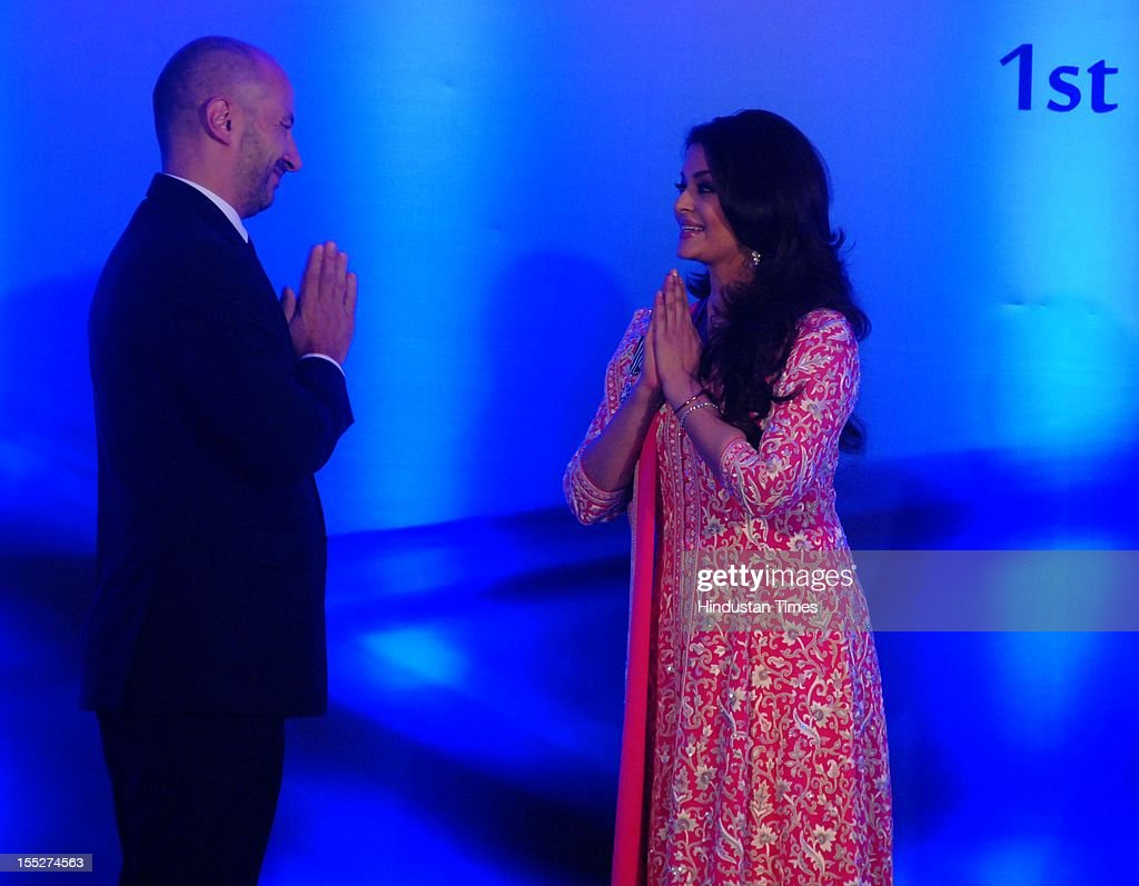 <a gi-track='captionPersonalityLinkClicked' href=/galleries/search?phrase=Aishwarya+Rai&family=editorial&specificpeople=202237 ng-click='$event.stopPropagation()'>Aishwarya Rai</a> Bachchan with French ambassador to India Francois Richier during a function to confer her with French Knight of the Order of Arts and Letters for her contribution to the arts on November 1, 2012 in Mumbai, India. She also celebrated also celebrated her 39th birthday.