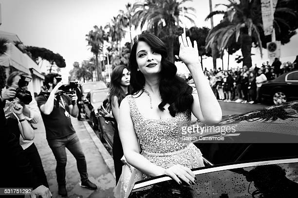 Aishwarya Rai departs the Martinez Hotel during the 69th annual Cannes Film Festival on May 14 2016 in Cannes France