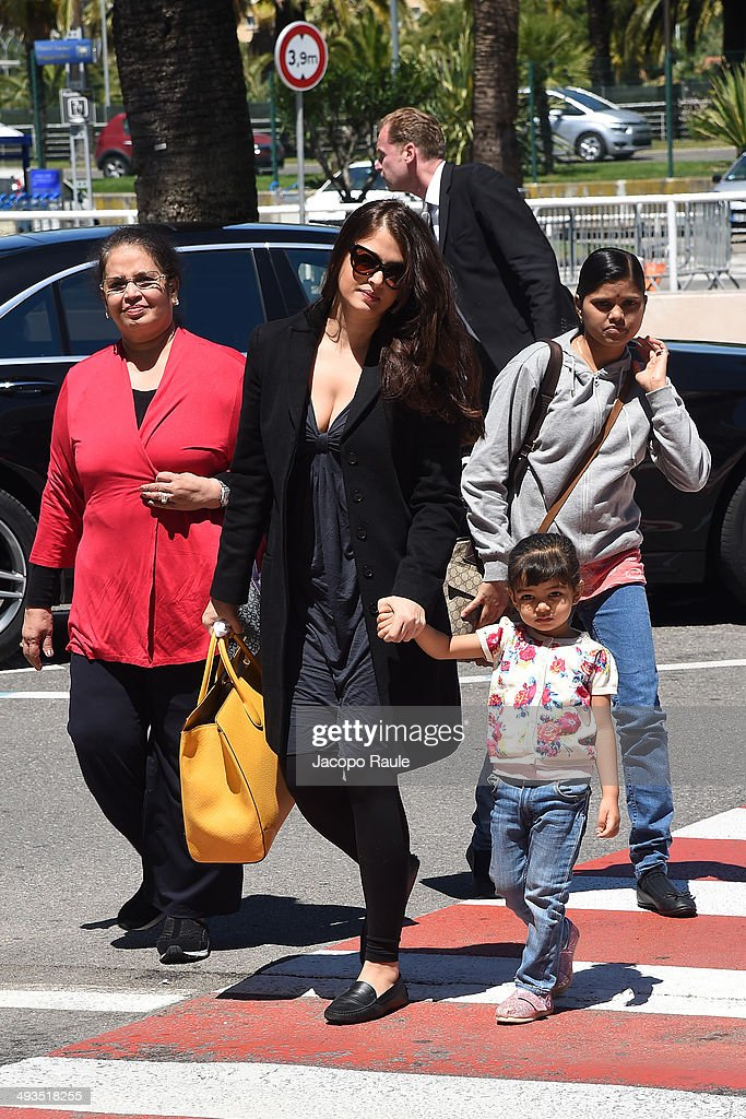 <a gi-track='captionPersonalityLinkClicked' href=/galleries/search?phrase=Aishwarya+Rai&family=editorial&specificpeople=202237 ng-click='$event.stopPropagation()'>Aishwarya Rai</a> is seen arriving in Nice for the 67th Annual Cannes Film Festival on May 24, 2014 in Nice, France.