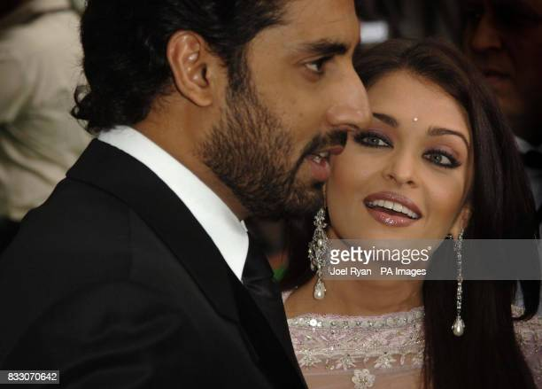 Aishwarya Rai looks at her husband Abhishek Bachchan as they arrive for the International Indian Film Academy awards at Hallam Arena in Sheffield