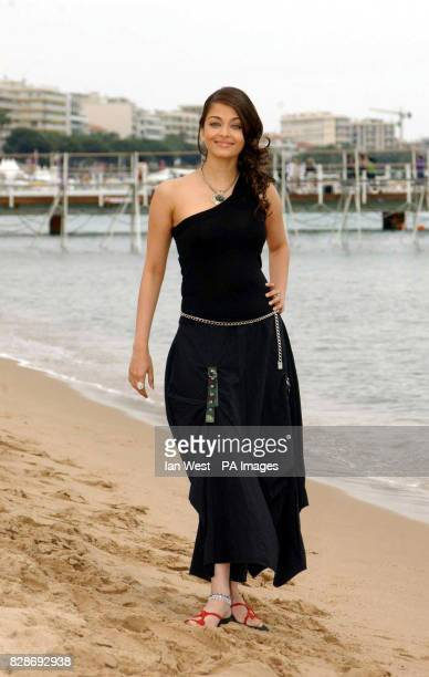 Aishwarya Rai walks along the beach at the Cannes film Festival to promote her new film 'Pride and Prejudice The Bollywood Musical' The movie is...