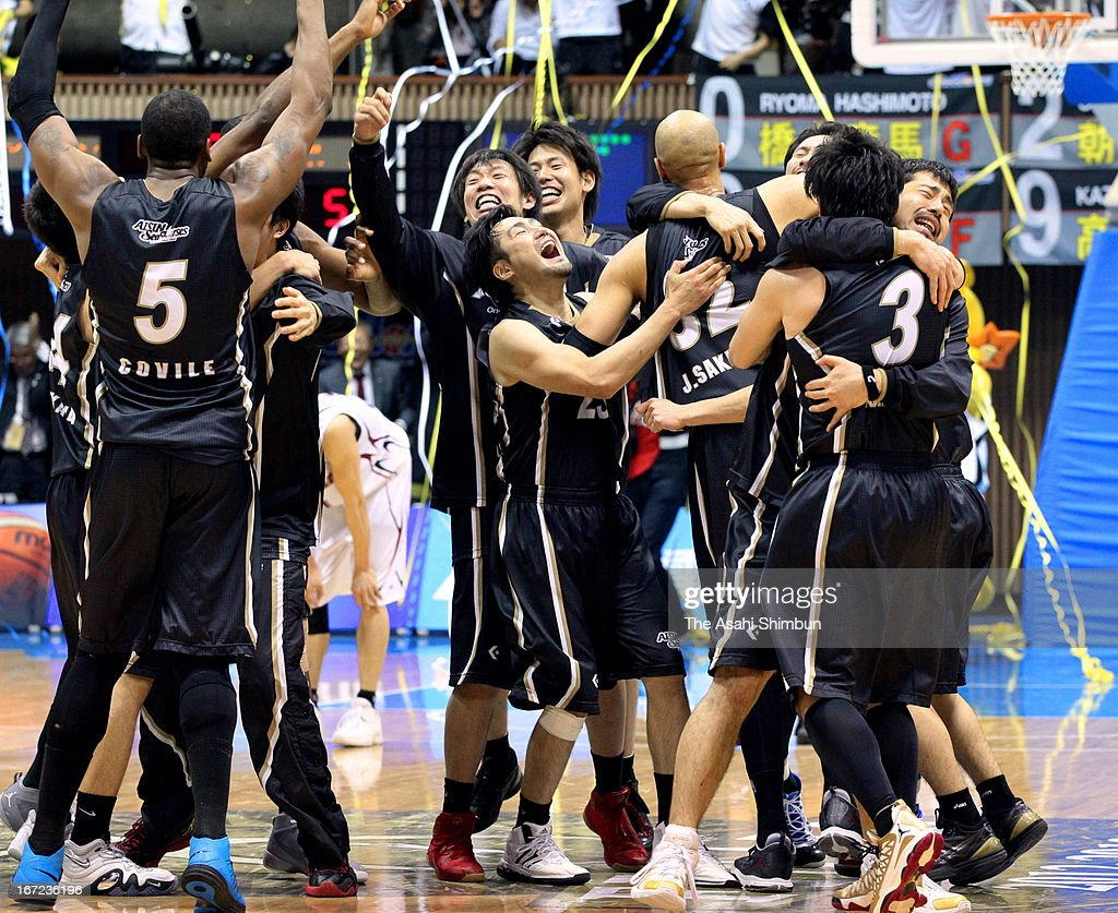 Aisin Sea Horses celebrate winning after the Japan Basketball League Playoff Game 5 between Aisin Sea Horses and Toshiba Brave Thunders at Yoyogi Gymnasium on April 22, 2013 in Tokyo, Japan.
