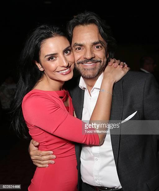 Aislinn Derbez and father Eugenio Derbez attend Pantelion's 'Compadres' US Premiere on April 19 2016 in Los Angeles California