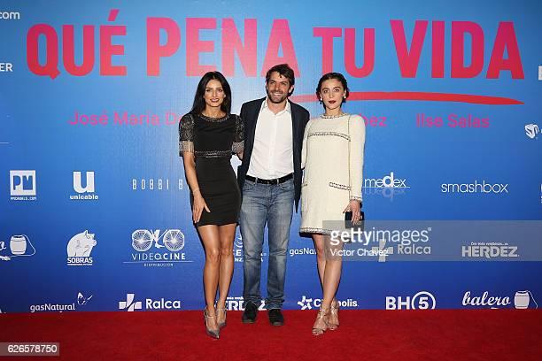 Aislinn Derbez Jose Maria de Tavira and Ilse Salas attend the 'Que Pena Tu Vida' Mexico City Premiere at Cinepolis Oasis Coyoacan on November 29 2016...