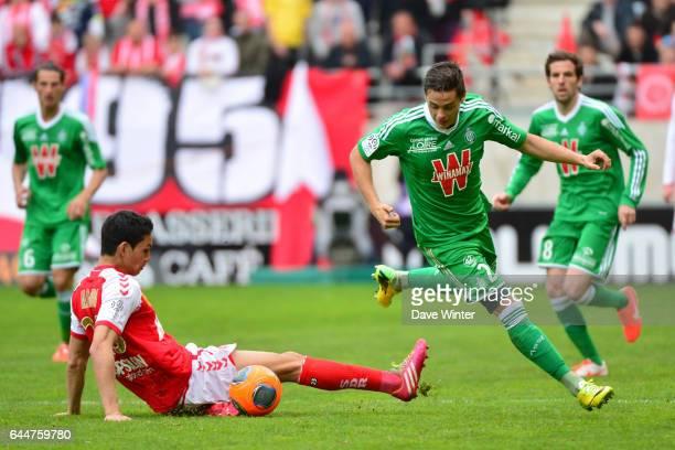Aissa MANDI / Romain HAMOUMA Reims / Saint Etienne 33eme journee de Ligue 1 Photo Dave Winter / Icon Sport