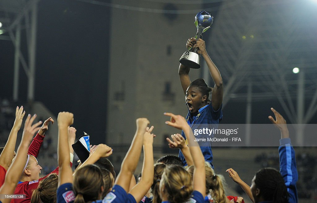 Aissatou Tounkara of France celebrate winning the FIFA U-17 Women's World Cup during the FIFA U-17 Women's World Cup 2012 Final match beween France and Korea DPR at Tofig Bahramov Stadium on October 13, 2012 in Baku, Azerbaijan.