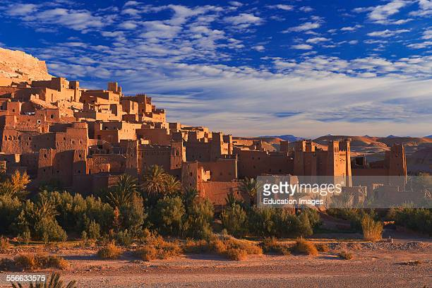 Ait Benhaddou Kasbah at dawn Morocco High Atlas Mountains ksar Ait Benhaddou Ouarzazate Province SoussMassaDraa region UNESCO World Heritage Site...