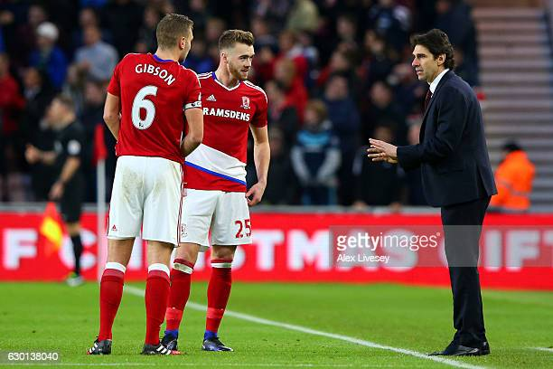 Aitor Karanka Manager of Middlesbrough speaks to Ben Gibson of Middlesbrough and Calum Chambers of Middlesbrough during the Premier League match...