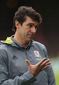 Aitor Karanka the Middlesbrough manager issues instructions during the pre season friendly match between York City and Middlesbrough at Bootham...