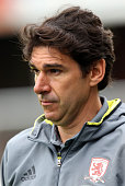 Aitor Karanka the Middlesbrough manager looks on during the pre season friendly match between York City and Middlesbrough at Bootham Crescent on July...