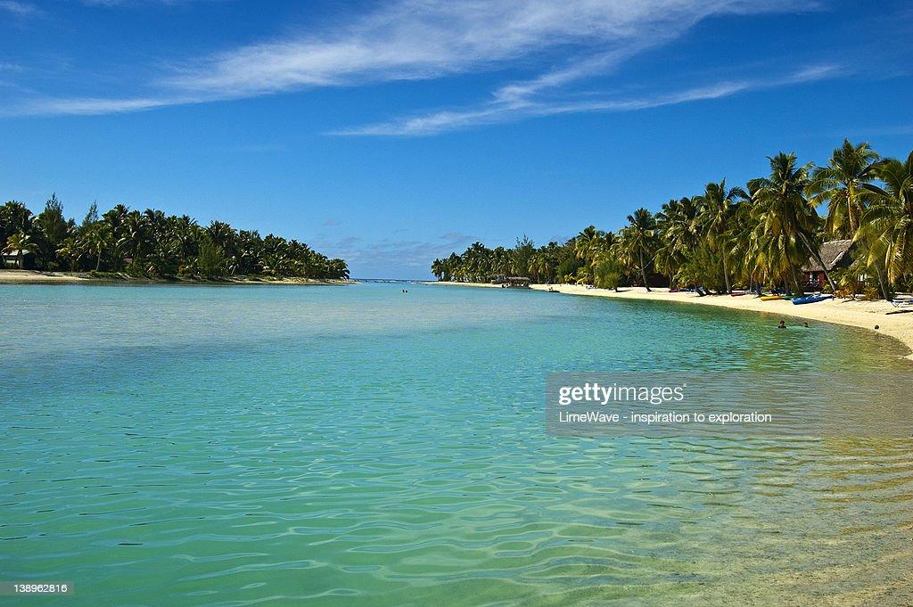 Aitutaki main island and Akitua motu : Stock Photo