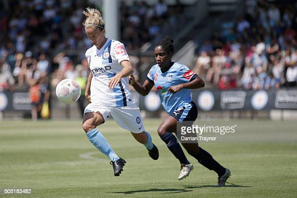 Aivi Luik of Melbourne City controls the ball in front of Jasmyne Spencer of Sydney FC during the round 14 WLeague match between Melbourne City FC...