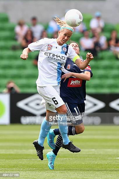 Aivi Luik of Melbourne City heads the ball during the round two WLeague match between Melbourne City FC and Melbourne Victory at AAMI Park on October...