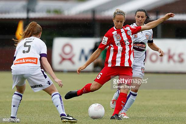 Aivi Luik of Melbourne City kicks the ball during the round 10 WLeague match between Melbourne City FC and Perth Glory at CBSmith Reserve on December...