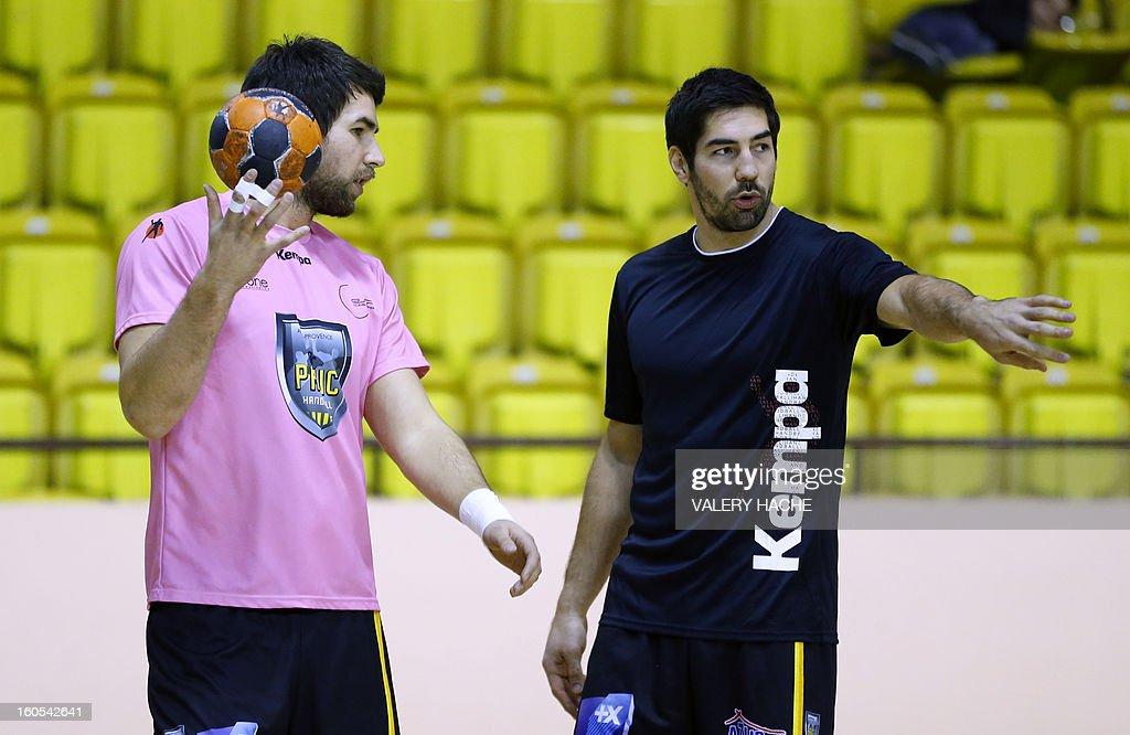 Aix-en-Provence's handball players Nikola Karabatic (R) and Luka Karabatic (L) speak before their French Cup handball match Monaco (N3) vs Aix-en-Provence (D1) on February 2, 2013 at the 'Louis II' stadium in Monaco.