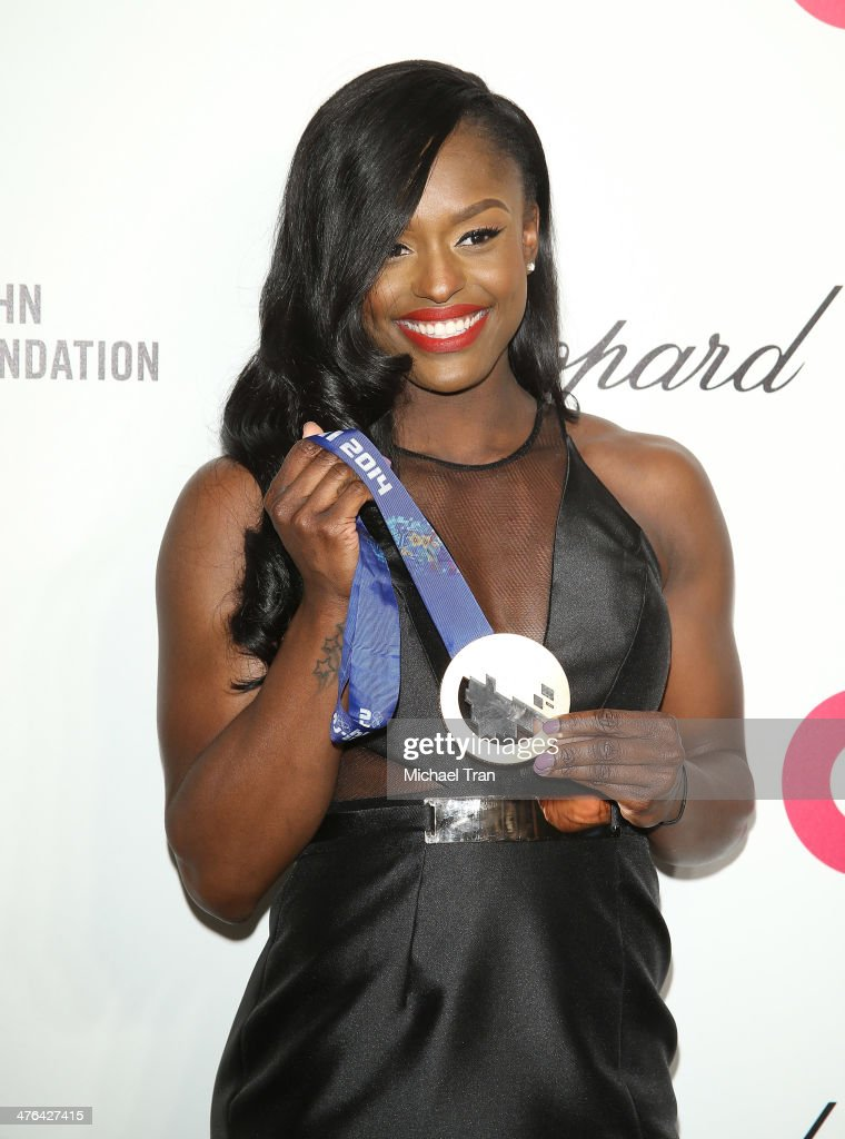 <a gi-track='captionPersonalityLinkClicked' href=/galleries/search?phrase=Aja+Evans&family=editorial&specificpeople=4068934 ng-click='$event.stopPropagation()'>Aja Evans</a> arrives at the 22nd Annual Elton John AIDS Foundation's Oscar viewing party held on March 2, 2014 in West Hollywood, California.