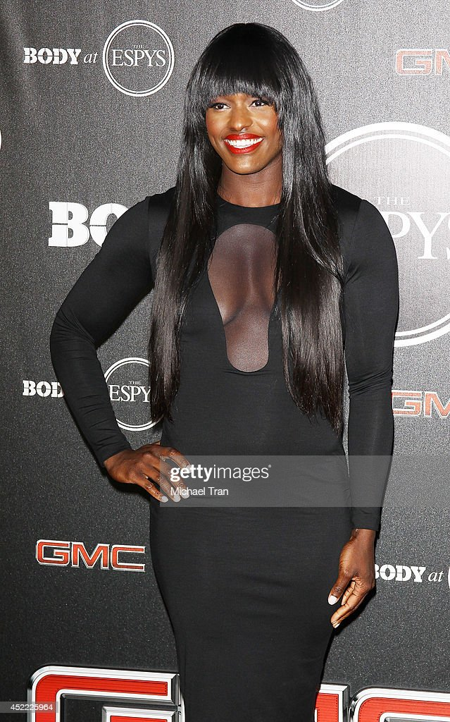 <a gi-track='captionPersonalityLinkClicked' href=/galleries/search?phrase=Aja+Evans&family=editorial&specificpeople=4068934 ng-click='$event.stopPropagation()'>Aja Evans</a> arrives at the BODY at ESPYS Pre-Party held at Lure on July 15, 2014 in Hollywood, California.