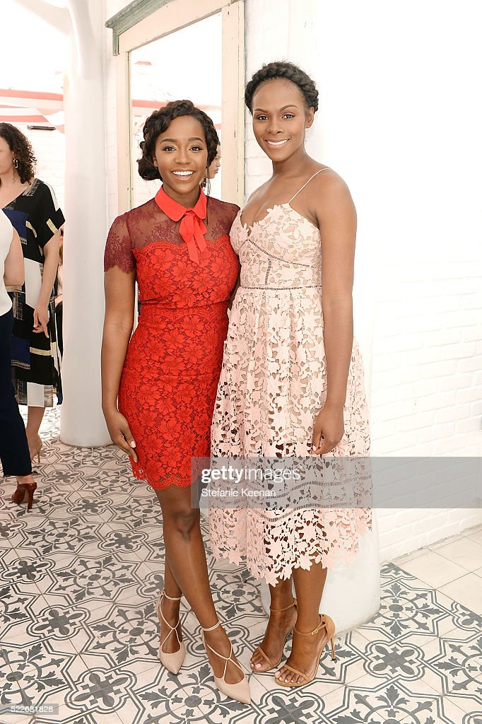 Aja Naomi King and Tika Sumpter attend Glamour's Game Changers Lunch hosted by EditorinChief Cindi Leive Zendaya at AU FUDGE on April 20 2016 in West...