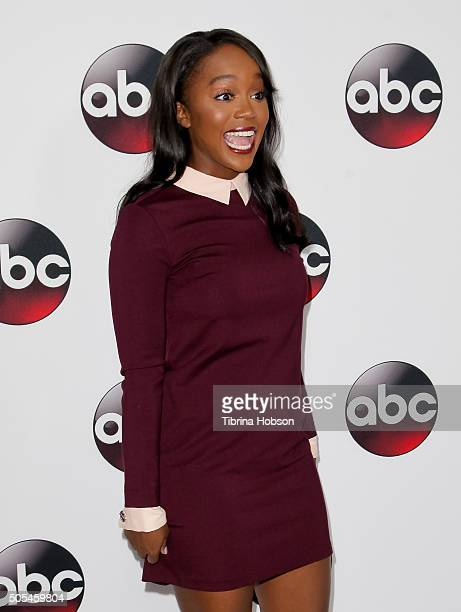 Aja Naomi King attends the Disney/ABC 2016 Winter TCA Tour at Langham Hotel on January 9 2016 in Pasadena California