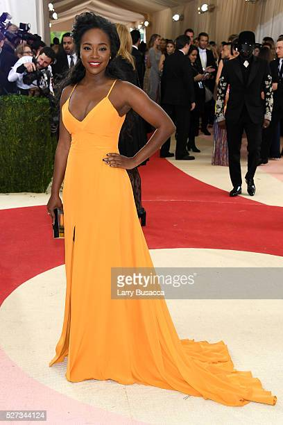 Aja Naomi King attends the 'Manus x Machina Fashion In An Age Of Technology' Costume Institute Gala at Metropolitan Museum of Art on May 2 2016 in...