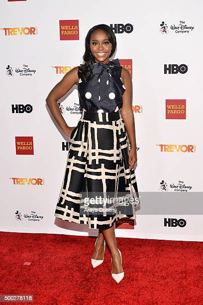 Aja Naomi King attends the TrevorLIVE LA 2015 event at Hollywood Palladium on December 6 2015 in Los Angeles California